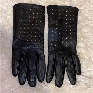 Rhinestone leather gloves